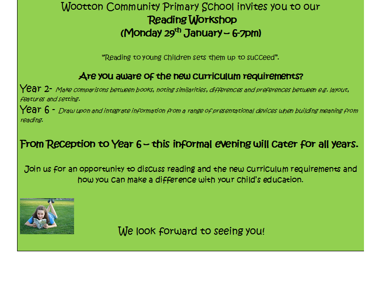 Reading Workshop Monday 29th January 6 7pm Wootton Community